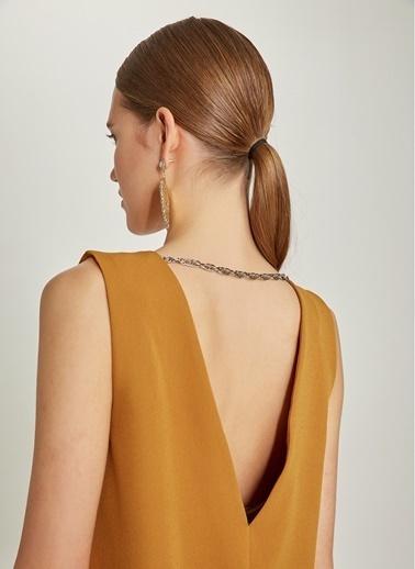 Ng Style Arkası Zincir Detaylı Mini Elbise Hardal